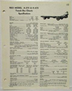 1961 REO A-375 & A-475 Transit Bus Chassis Spec Sheet