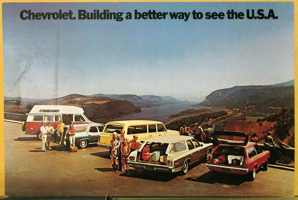1972 Chevrolet Wagon Chevelle Chevy Van Vega Suburban  Color Postcard Original