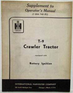 1953 International Harvester Supplement to Operators Manual 1 004 740 R1 T-9