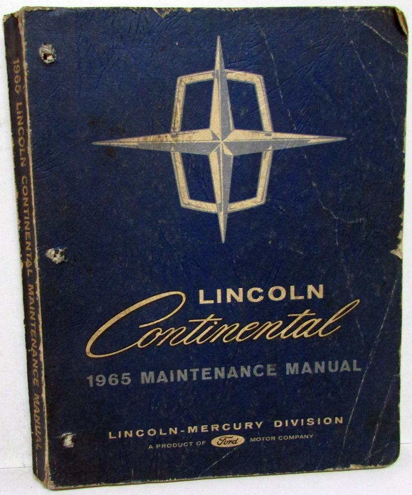 1965 Lincoln Continental Dealer Service Shop Manual Repair Instructions  Original