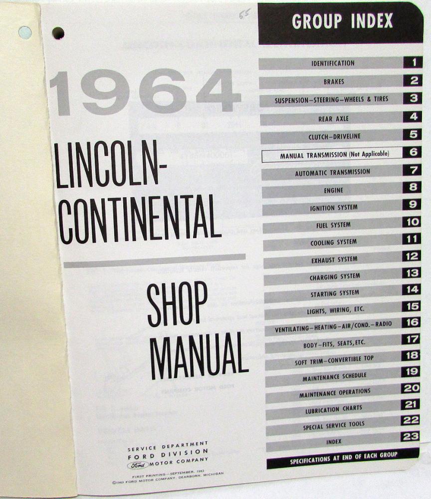 1964 Lincoln Continental Dealer Service Shop Manual Repair Instructions  Original