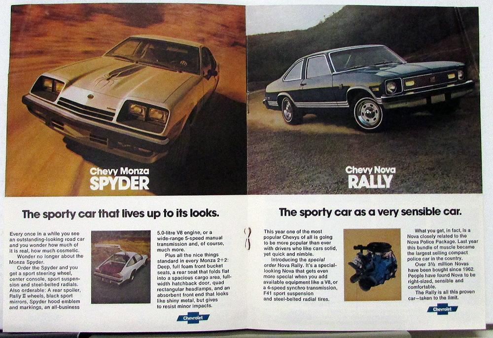 1977 Chevy Nova Chevette Rally Spyder Camaro Z28 Corvette