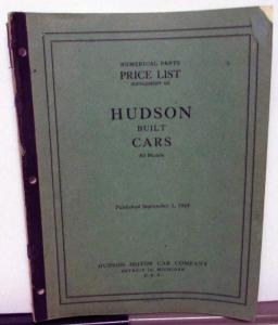 1949 Hudson Dealer Parts Price List All Car Models Supplement 465 September 1949