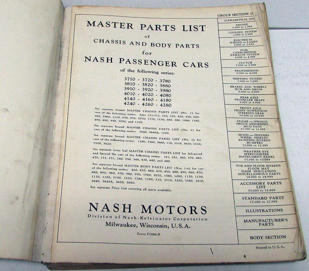 1937 42 Nash Dealer Master Parts Book Chassis Body Passenger Cars Starting Circuit Diagram For The 1952 53 Statesman Original