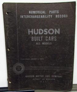 1927-50 Hudson Dealer Numerical Parts Interchangeability Record Book Original