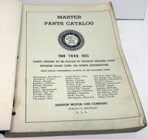 1948-53 Hudson Dealer Master Parts Catalog Book Commodore Hornet Wasp Jet