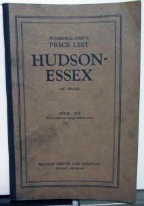 1927 Hudson Essex Dealer Numerical Parts Price List All Models April Original
