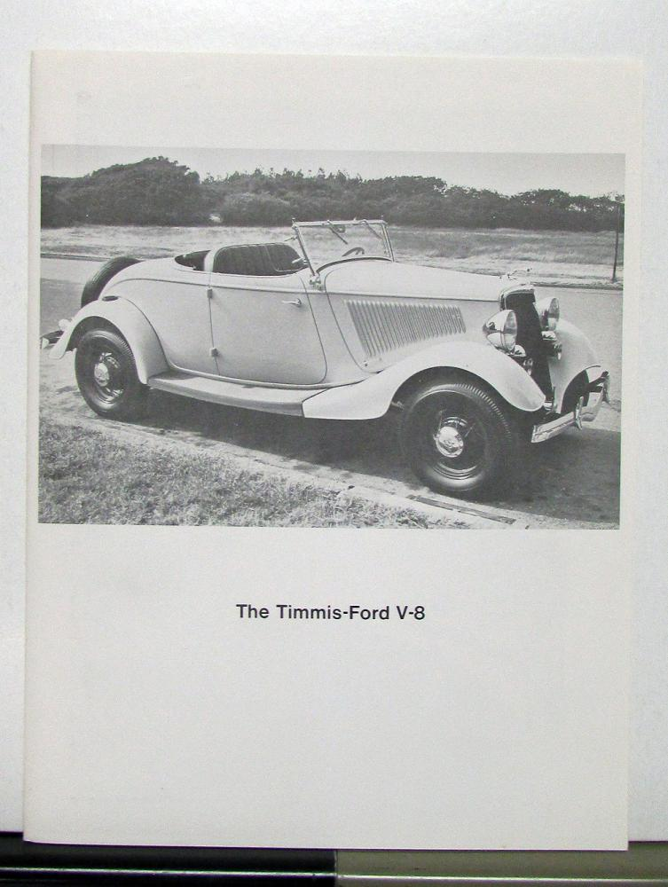 1980 Timmis Ford V8 Roadster Reproduction Sales Literature