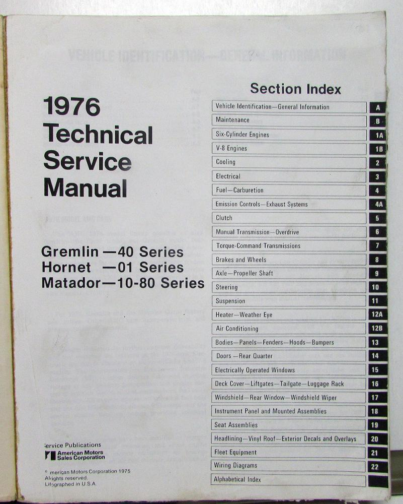 1976 Amc Technical Service Shop Manual Gremlin Hornet Matador Repair Wiring Diagram Original