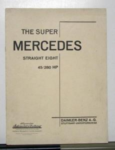 1930 1931 Super Mercedes Straight Eight 45/280 HP Sales Brochure