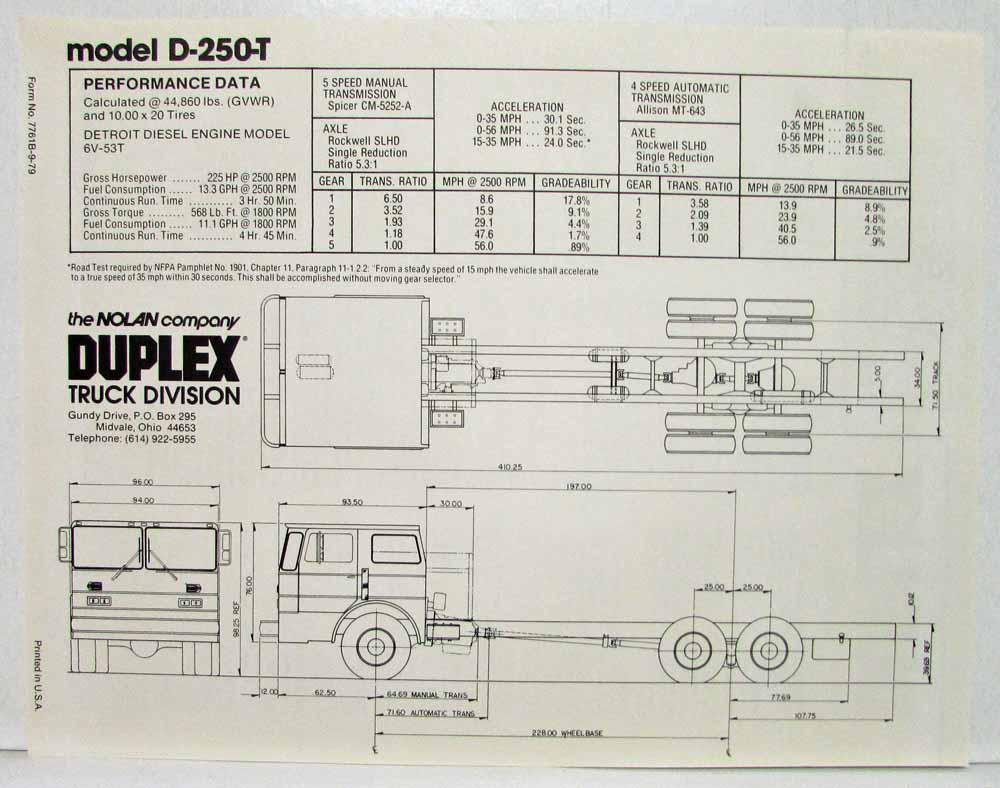 1980 Duplex Fire Truck Chassis Model D-250 & D-250-T Sales Spec