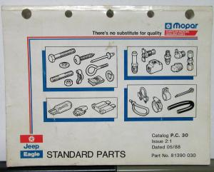 1988 Jeep Eagle Dealer Standard Parts Catalog Book PC 30 Fasteners Bolts Etc