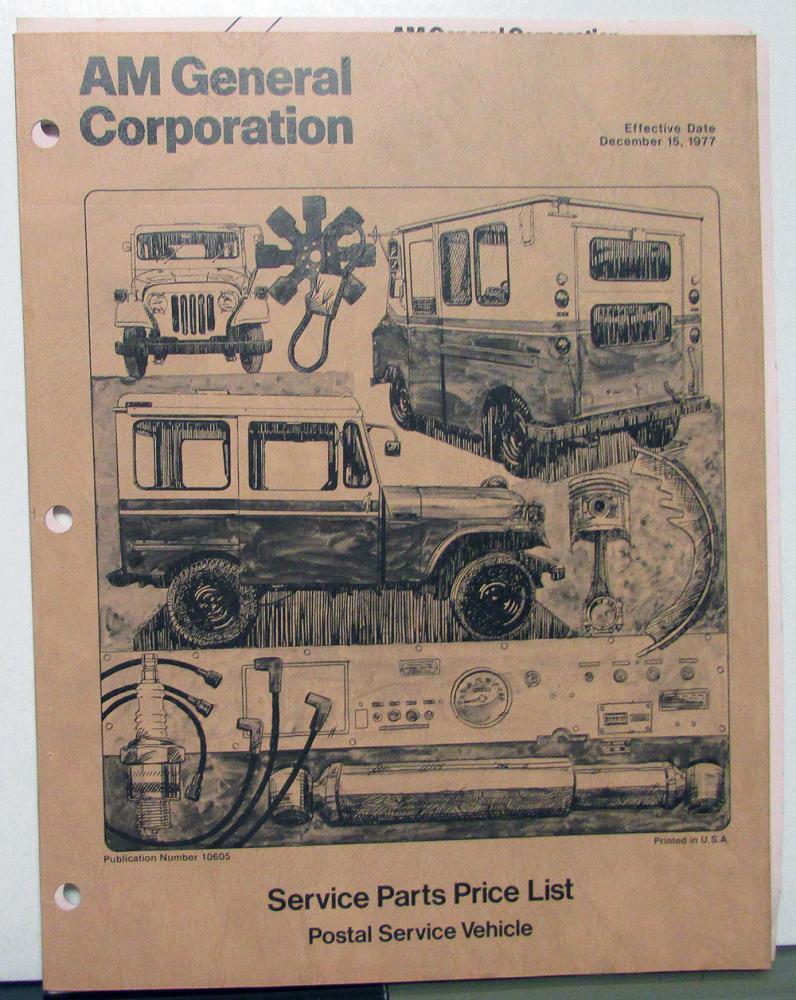 1977 AM General Corp Service Parts Price List DJ-5 FJ-8 & 9