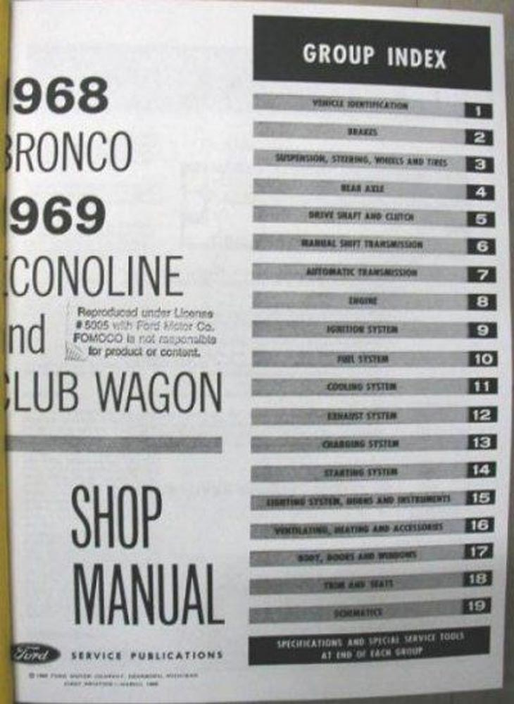 1968 Ford Bronco 1969 Econoline Club Wagon Van Shop Service Repair ...