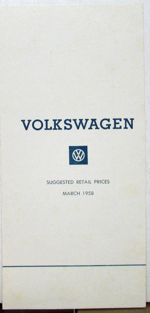 1958 Volkswagen VW Retail CANADIAN Price List Sales Folder All Models Orig