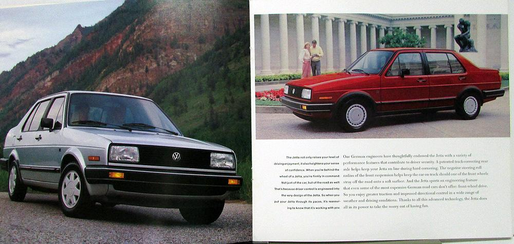 1987 Volkswagen VW Jetta GL & GLI Color Sales Brochure Original Oversized
