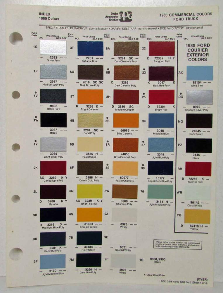 1980 ford truck commercial color paint chips by ditzler ppg rev 2 84 rh autopaper com 1980 ford f100 truck colors 1980 ford f100 truck colors