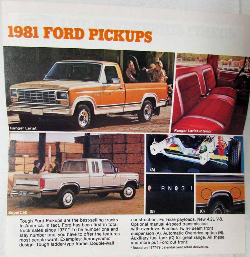 1981 Ford Truck and Van Original Sales Brochure Bronco Courier F-150
