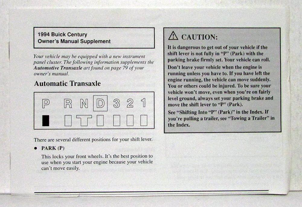 1994 buick century operators owners manual original rh autopaper com 2000 buick century owner's manual 2000 buick century owner's manual