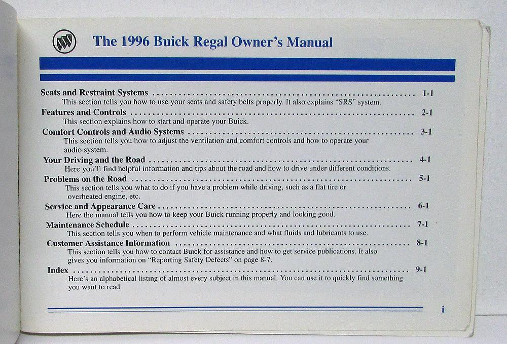 Buick regal 1996 owners manual.