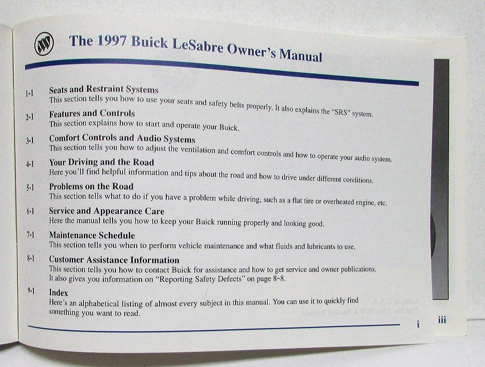 1997 buick lesabre operators owners manual original version a rh autopaper com 97 buick lesabre repair manual 1998 Buick LeSabre