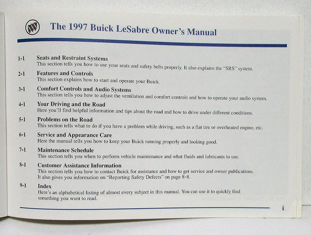 1997 buick lesabre operators owners manual original version c rh autopaper com 1999 Buick LeSabre 1997 buick lesabre repair manual free download