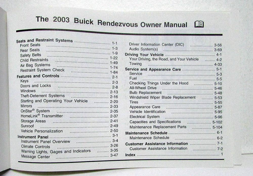 2003 buick rendezvous owners operators manual original rh autopaper com 2003 buick rendezvous repair manual 2003 buick rendezvous repair manual