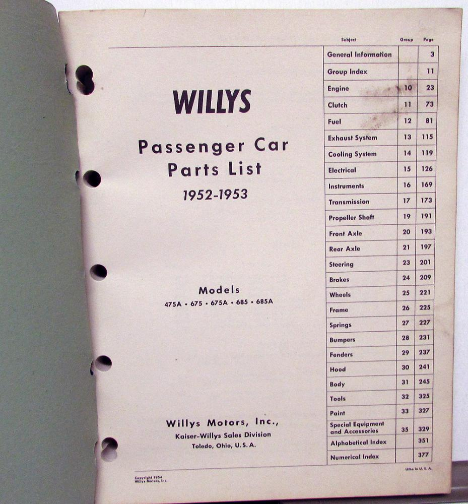 1952-53 willys dealer parts list book passenger car 475a 675 675a 685 685a