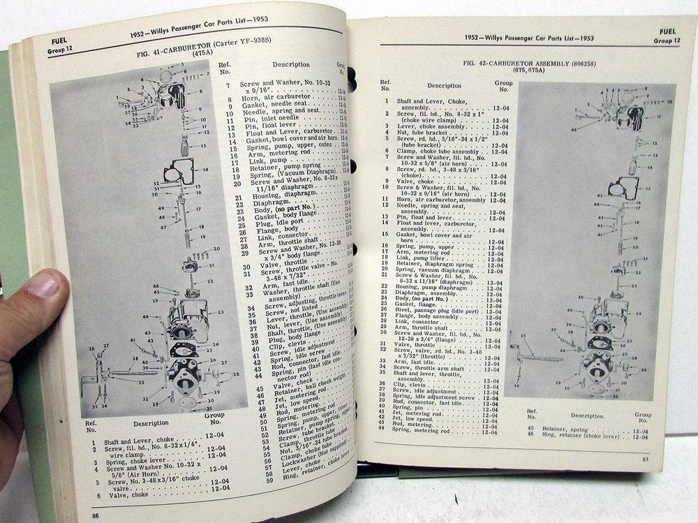 1952-53 willys dealer parts list book passenger car 475a 675 675a 685 685a