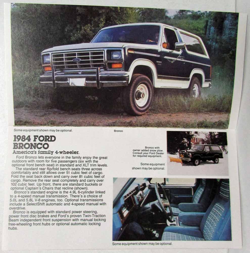 1984 Ford Trucks Sales Mailer Ranger Bronco II Club Wagon