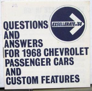 1968 Chevrolet Dealer Salesmen Pocket Passenger Car Q&A Information Features