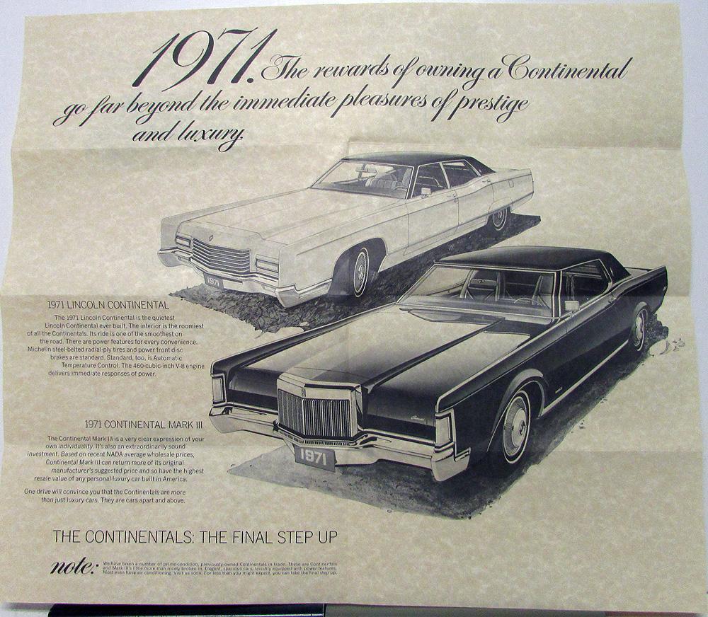 1971 Lincoln Continental Mark Iii Sales Folder Mailer Original 1954 Ii