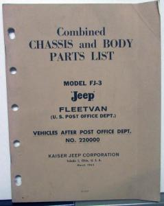 1963 Jeep Dealer Chassis & Body Parts List Book FJ-3 US Post Office Fleetvan