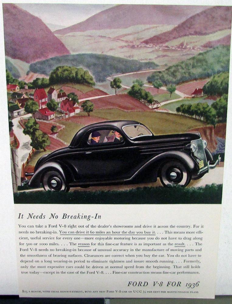 1936 Ford Dealer Labor Repair Schedule Book Pricing Car Truck W/V8 Ad