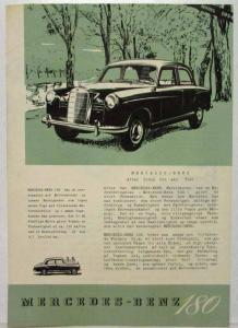 954 Mercedes Benz 180 Greentone Front Spec Sheet - German Text