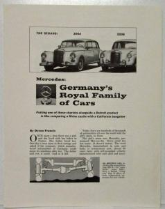 1960 Mercedes Benz Germany Royal Family of Cars Popular Science Article Reprint