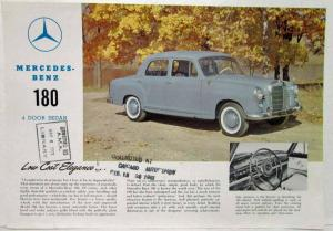 1961 Mercedes Benz Type 180 4-Door Sedan Spec Sheet From Chicago Auto Show