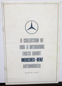 1961 Mercedes Benz Odd & Intriguing Facts Booklet - White Cover 41040A