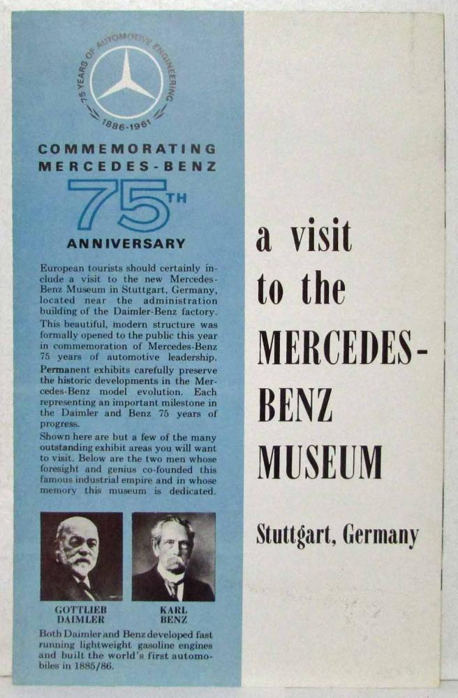 1961 Mercedes Benz A Visit to the M-B Museum Commemorates 75th Sales Brochure