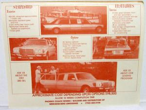 1980 Custom Mercedes-Benz Limousine Data Sheet Handout Phoenix Coach Works