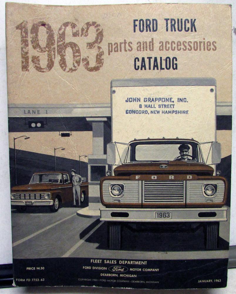 1963 63 Ford Truck Parts Catalog Manual F 100 250 350 Pickup Diesel 1941 Front Fenders Hd Tilt Cab