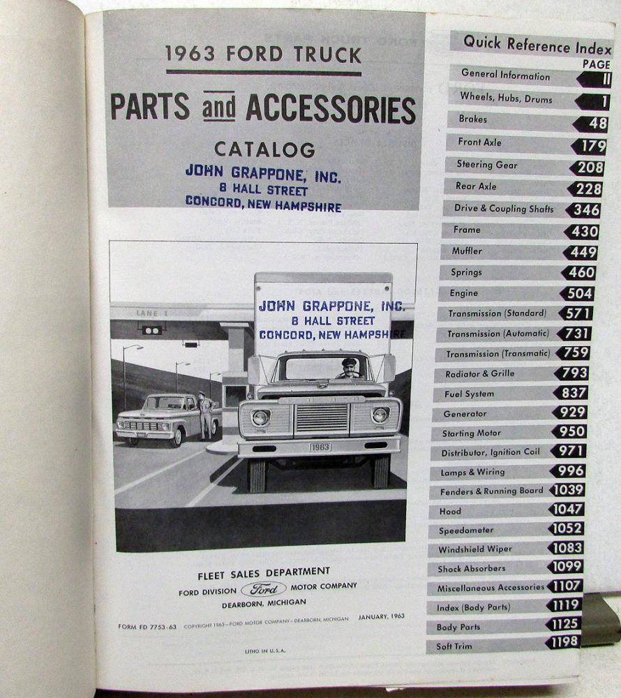1963 63 Ford Truck Parts Catalog Manual F 100 250 350 Pickup Diesel Windshield Wiper Wiring Diagram 1967 F100 Hd Tilt Cab