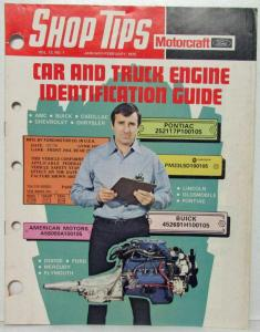 1975 January-February Ford Shop Tips Vol 13 No 1 Car & Truck Engine ID Guide