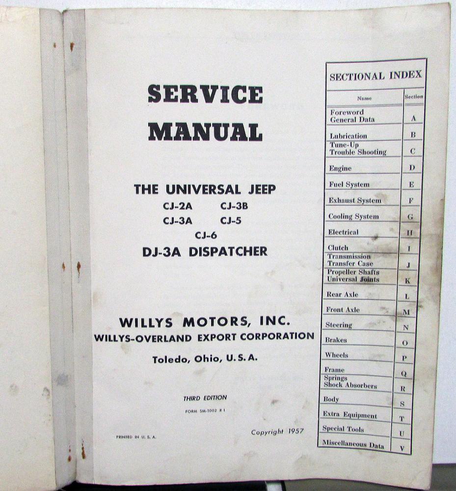 1946-57 Jeep Dealer Service Shop Manual Repair Universal CJ Dispatcher  Willys