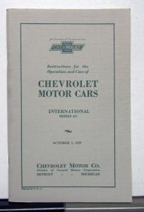 1929 Chevrolet International Series AC Owners Manual Reproduction