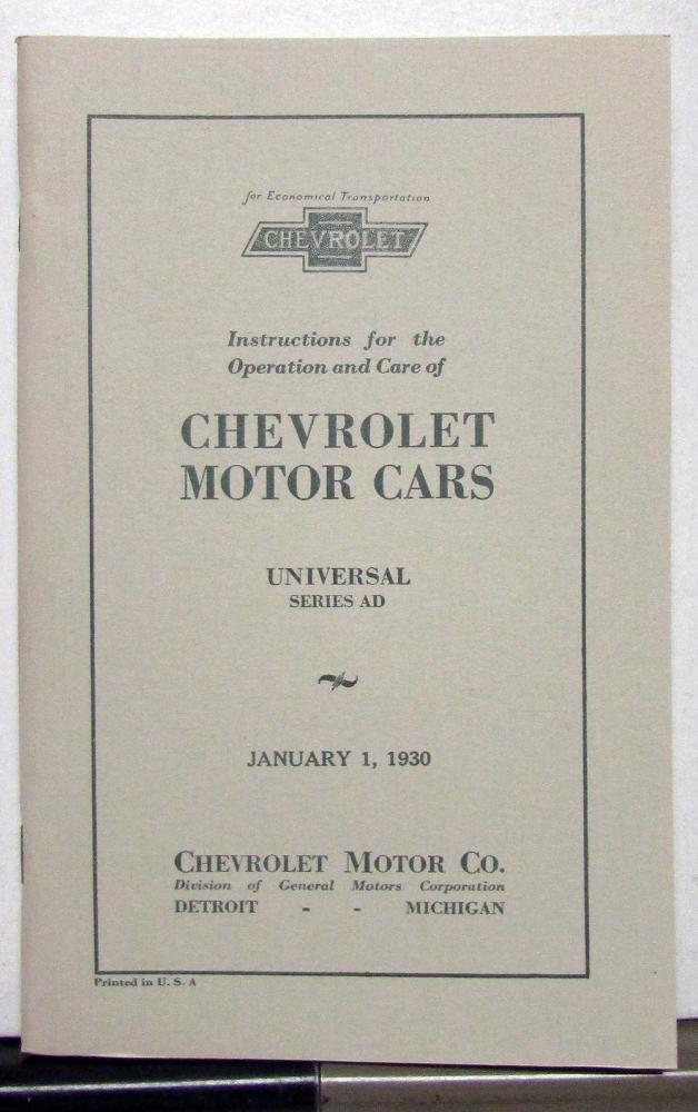 1930 Chevrolet Universal Series AD Owners Operators Manual Reproduction