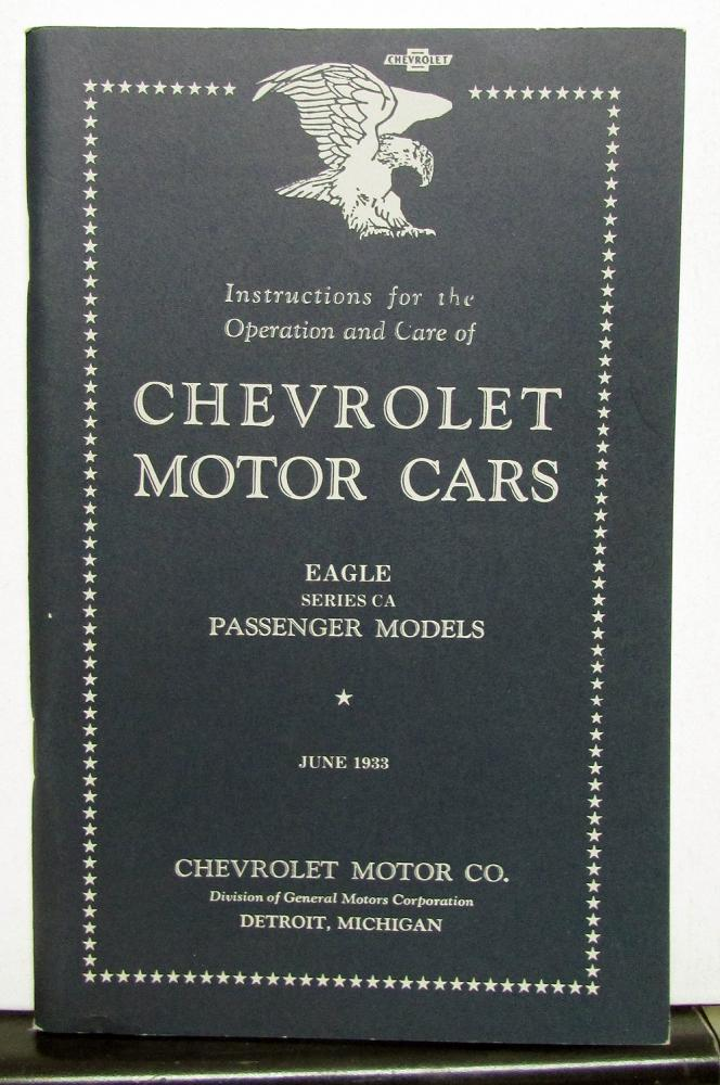 1933 Chevrolet Eagle Series CA Owners Manual Reproduction