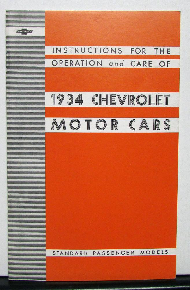 1934 Chevrolet Standard Series DC Owners Operators Manual Reproduction