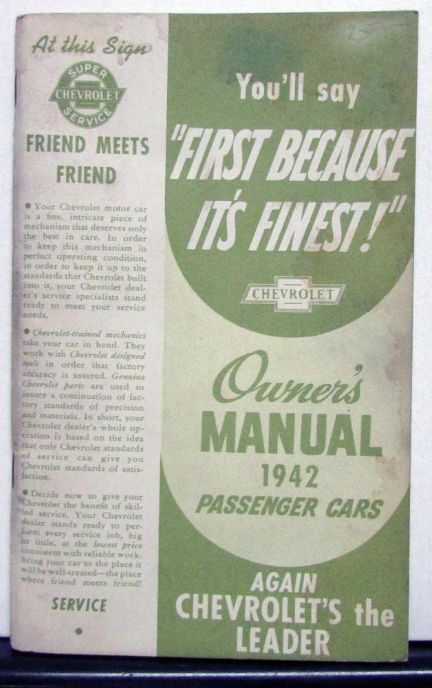 1942 Chevrolet Master Special Deluxe Owners Operators Manual Original