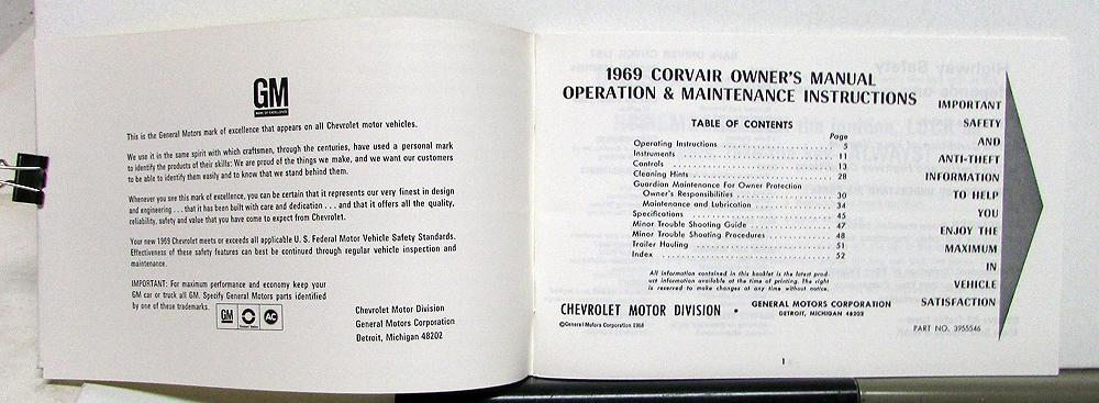 corvair owners manual